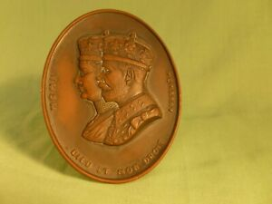 King George V and Queen Mary 1910 - 1935 Commemorative Copper Easel Plaque Portr