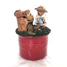 Boyds Bear Candle Topper Sage Basket Blooms & Longaberger Paprika Crock Lid New