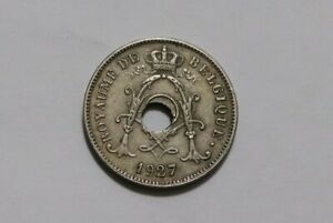 BELGIUM 10 CENTIMES 1927 ERROR COIN OFFCENTRE HOLE B34 #K4174