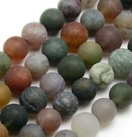 54 Natürliche Indische Achat Perlen 6mm Frosted Grün Rund Edelsteine DIY G733#3
