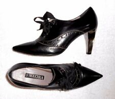 NOUCHKA escarpins low boots cuir noir talon miroir P 39 neufs