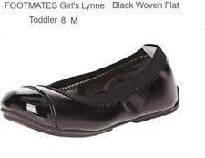 NIB FOOTMATES Girl's Lynne (Toddler/Little Kid) Black Woven Flat 8 Toddler M