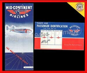 MID-CONTINENT AIRLINES 1941 AIRLINE TIMETABLE SCHEDULE...Plus ticket holder