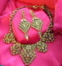Vintage Huge Signed Oscar De La Renta Goldtone Golden Earrings Necklace Box Set