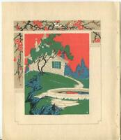 ANTIQUE NATURE GARDEN COTTAGE BLUE GREEN TREES POOL WOODCUT ART NOUVEAU PRINT