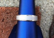 CAMELOT 14K WHITE GOLD MENS WEDDING BAND COMFORT FIT 6.0MM SIZE 11