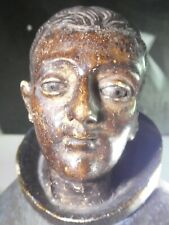 19TH C SPANISH COLONIAL WOOD SANTO WITH GLASS EYES 0F ST ANTHONY