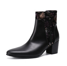 Men Mid Heels Boots Genuine Leather Pointed Toe High Top Riding Shoes Zip CHIC