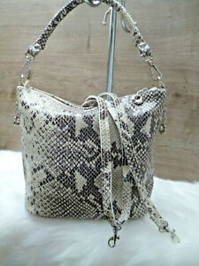 Beuteltasche Handtasche Damen Tasche Schultertasche Schlange Python-Optik Leder
