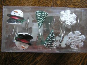 Set of 12 Christmas Holiday Resin Shower Curtain Rings/Hooks~SNOWMAN~TREE~FLAKE