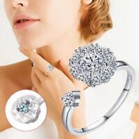 Creative Rotating Ring Diamond Flower Zircon Spinner Open Ring Spinning HOT