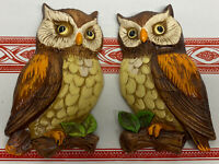 2 Vintage Owl Wall Hanging Art Plaque Ceramic Made in Japan In Original Box