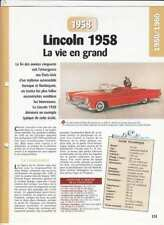 VOITURE CAR AUTO LINCOLN 1958 CONTINENTAL MARK III V8 CABRIOLET /COUPE USA FICHE