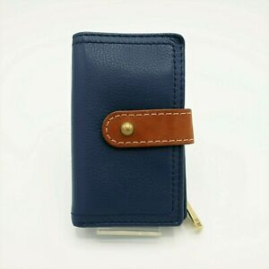 Fossil Navy Blue & Brown Pebble  Leather Trifold Wallet