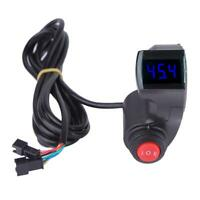 Bike Bicycle Thumb Throttle w/LCD Digital Battery Voltage Display 3 Speed Switch
