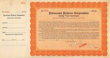 Paramount Pictures Corporation c1915 Specimen Stock Certificate Film Studio