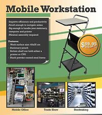 Mobile Office Computer Workstation Exhibition Stock Take Folding Desk Trolley