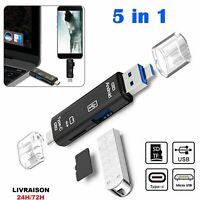 5 en 1 type C/USB 3.1/micro USB SD TF lecteur de carte mémoire OTG universel