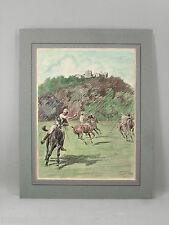 LITHOGRAPHIE( ?) ANCIENNE colorisée, Lionel Edwards, match de polo,chevaux, 1907