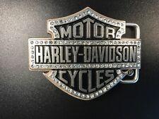 Harley-Davidson womens B@S rhinestone belt buckle .#HDWBU10635.Brushed nickel.
