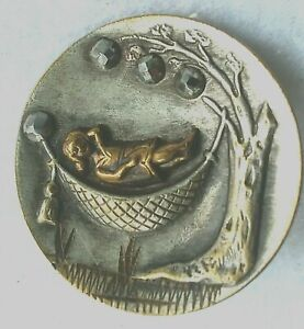 """Vintage Girl in a Hammock Button, Stamped Silvered Brass with Steel Cuts, 1 1/8"""""""
