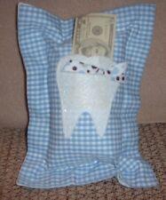 "Tooth Fairy Pillow - Blue Gingham Check - 7"" x 10"" - Handmade"