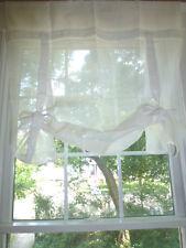 One POTTERY BARN Linen RIBBON TIE Curtain Drape Panel Shade OFF WHITE 44x84
