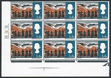 1966 Landscapes 1/6 (Ord) - Perf Shifts + Other Varieties - Cyl Block of 9 - MNH
