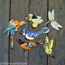 6 Original BIRDS BEES DIECUT Figural Cardboard Signs INSECT COLLECTION 1950s NOS