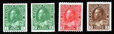 Canada #131 #132 #135, #137 1915-24 King George V Imperf & Coil Lot Mint 4 items