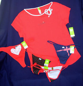5 pc lot sz M HUE Teeshirt Sleep Top G-String Thong Panties red blue New Med