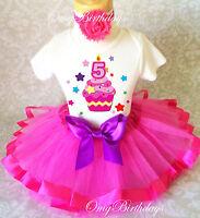 Cupcake Rainbow Stars HOT PINK Girl 5th Fifth Birthday Tutu Outfit Shirt Set