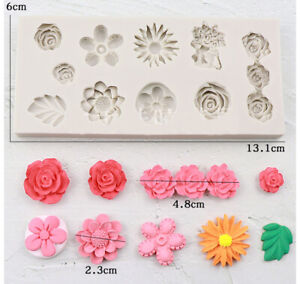 Silicone Flower Lace Fondant Mould Cake Rose Leaves Decorating Baking Icing Mold