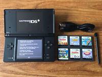 Nintendo DSi Black Handheld System Console Bundle +6 Games & Charger