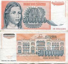 FRJ Yugoslavia 1993 50 Million 50000000 Dinar Dinara Hyperinflation Banknote