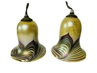 Pair of Arts and Crafts Era Pulled Feather Iridescent Lamp Shades