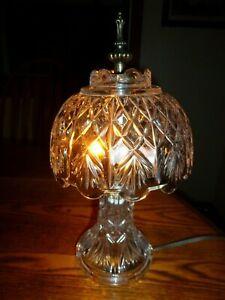 Vintage Cut Glass Crystal Small, Boudoir, Parlor, Table Lamp Excellent!