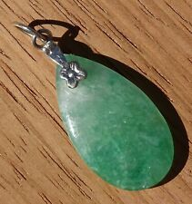 Pretty Green Jade Pendant with Flower Attachment