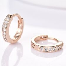 18K Yellow Gold Filled Stunning Women Sapphire Crystal Small Round Hoop Earrings