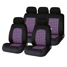 9 Piece Tartan Chequered GTI Look Seat Covers Suzuki Splash, Swift, SX4, Jimny