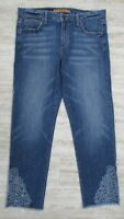 Joe's Jeans The Smith Crop Leg Floral Embroidered Denim Jeans Nixie Wash - 26 #2