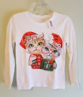 NEW Children's Place Girls 5/6 Long Sleeve Christmas Holiday Shirt CATS #10618