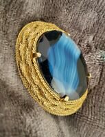 Vintage Large SPHINX Brooch Gold Tone Blue banded glass Stone Signed Sphinx VTG