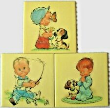 Vintage 1965 Set of 3 Boys By Pete Hawley Room Wall Plaque Tiles Crofton 8 1/2""
