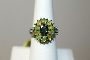 Chrome Diopside, Ethiopian Opal Ring Size 7 Platinum/.925 Sterling Silver $390