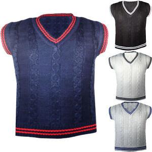 Boys Knitted Tank Top Sleeveless Vest V Neck Jumper Knit Waistcoat  2-10 Years