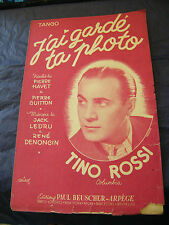 Partition J'ai tenuto ta foto Tino Rossi 1952 Music Sheet
