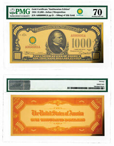 (2018) $1,000 24K Gold Certificate - Smithsonian Edition 1934 PMG 70 SKU60437