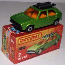 MATCHBOX SUPERFAST #7 VOLKSWAGEN VW GOLF, GREEN, AMBER WINDOWS, BLACK BASE