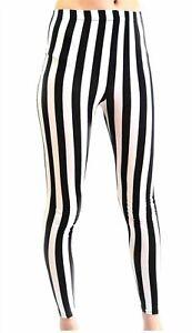 Ladies Women Full Length Black And White Vertical Print Stripe Leggings UK Sizes